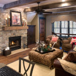Family room with box/faux beams