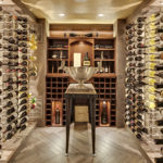 Wine room with box/faux beams