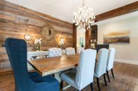 Dining room wall with weathered antique wood