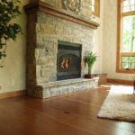 Fireplace area with douglas fir reclaimed wood floor