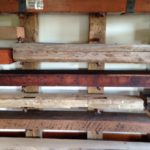 stacked reclaimed wood mantels by Manomin Resawn Timbers