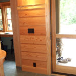 Wall with douglas fir wood paneling