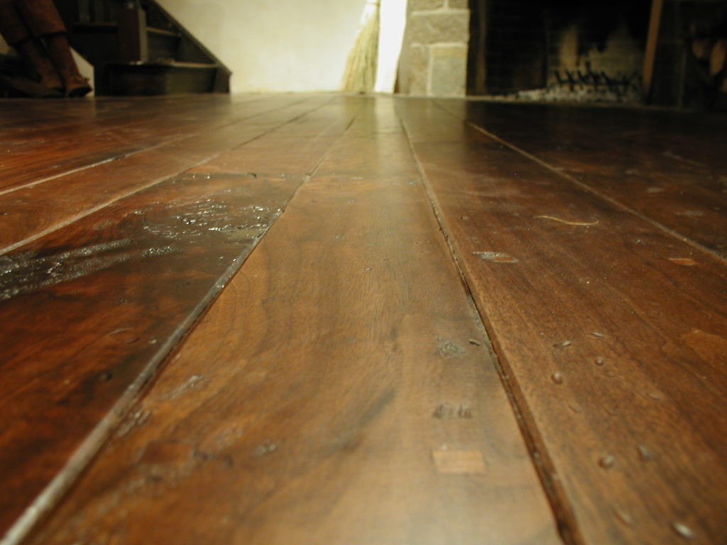Close Up Of Antique Black Walnut Flooring