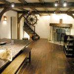 Basement with antique black walnut floor