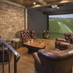 Entertainment room with hand hewn timbers