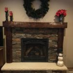 dark fireplace mantel