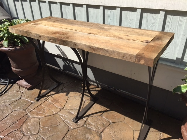 Light reclaimed wood table