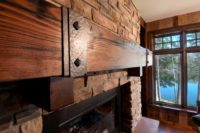 dark douglas fir mantel