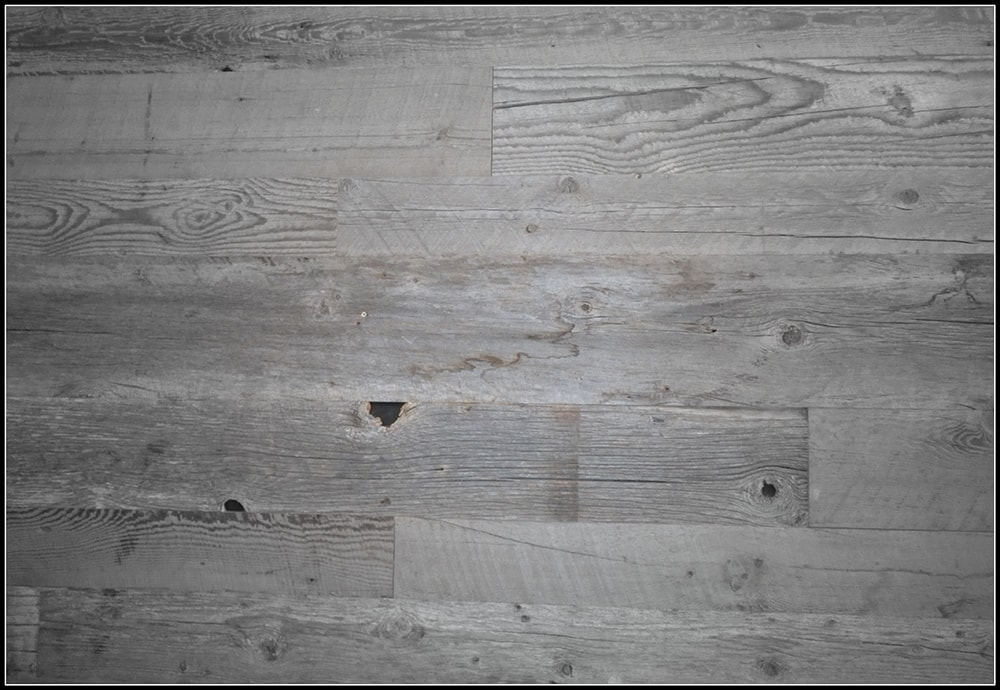 Close Up Of Platinum Gray Reclaimed Wood Paneling