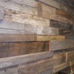 Close up of reclaimed wood paneling