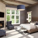 Bedroom with hand hewn timbers