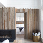 Reclaimed wood paneling wall