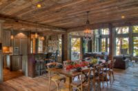 floor and ceiling with weathered antique reclaimed wood