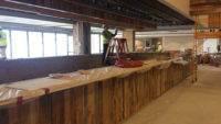 Antique oak reclaimed wood bar