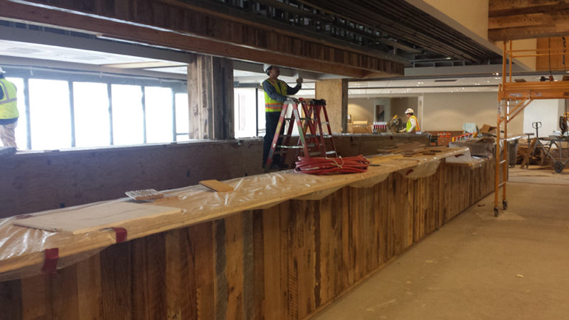 Antique oak reclaimed wood bar