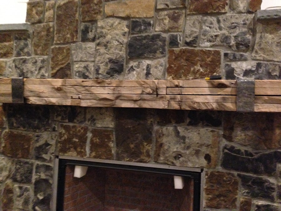 Beganik Fireplace Mantel With Iron Strap Reclaimed Wood Samples