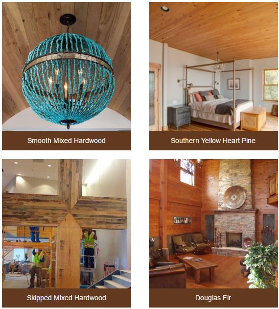 Barn Wood, Reclaimed Wood, Smooth Mixed Hardwood, Southern Yellow Heart Pine, Skipped Mixed Hardwood, Douglas Fir