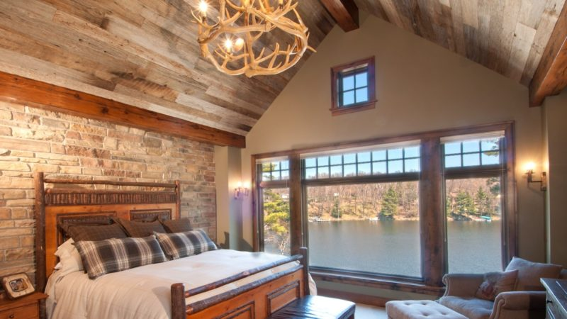 Wormy Chestnut Reclaimed Wood Paneling Bedroom