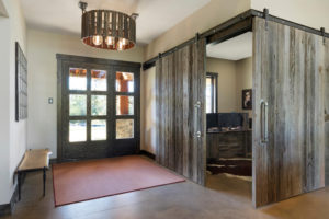 weathered gray barn wood entry way