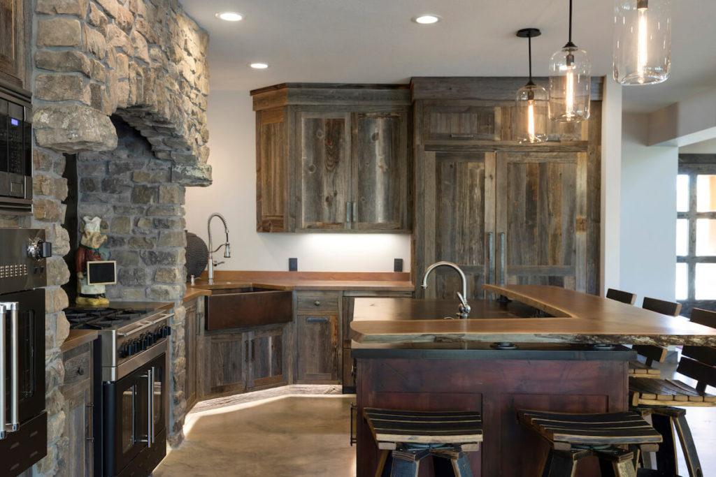 weathered gray barn wood kitchen