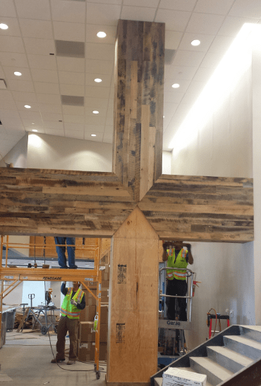 Wood paneling on beam